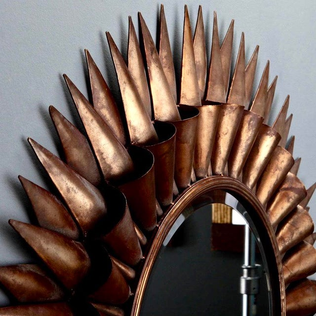 Large Mid-Century Spanish Gilt Sunburst Mirror - Image 3 of 5