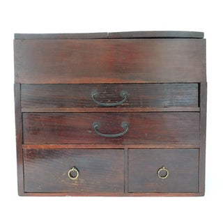 Antique Traveling Chinese Scholar's Wooden Writing Box For Sale
