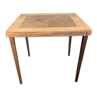Antique Mid-Century Modern Wood Inlay Folding Game Table For Sale