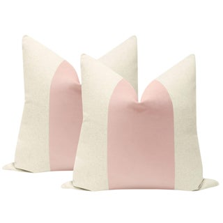 """22"""" Blush Velvet Panel & Linen Pillows - a Pair For Sale"""