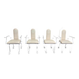 Lucite & Cream Armchairs on Casters - Set of 4 For Sale