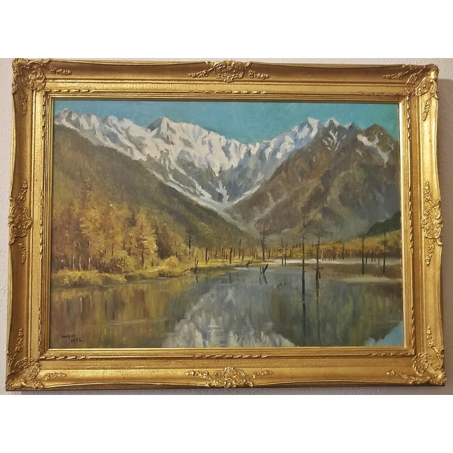 Mid 20th Century Hiyashi NoBuo Large Oil on Canvas – Lake & Snow Mountains For Sale - Image 5 of 9