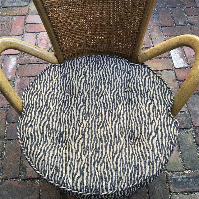 Zebra Upholstered Cane Back Swivel Chair - Image 3 of 7