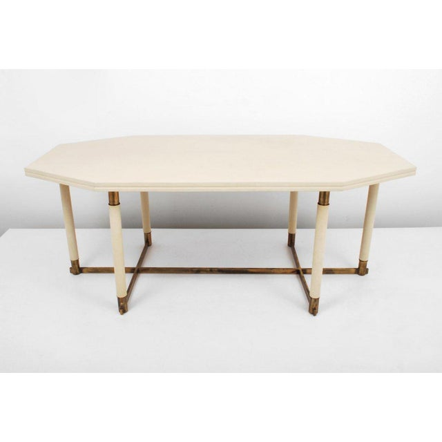 Maison Jansen Octagonal Leather Dining Table For Sale In San Francisco - Image 6 of 6