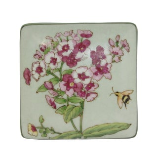 Contemporary Honey Bee and Flower Painting Square Porcelain Box - Jewelry Box For Sale