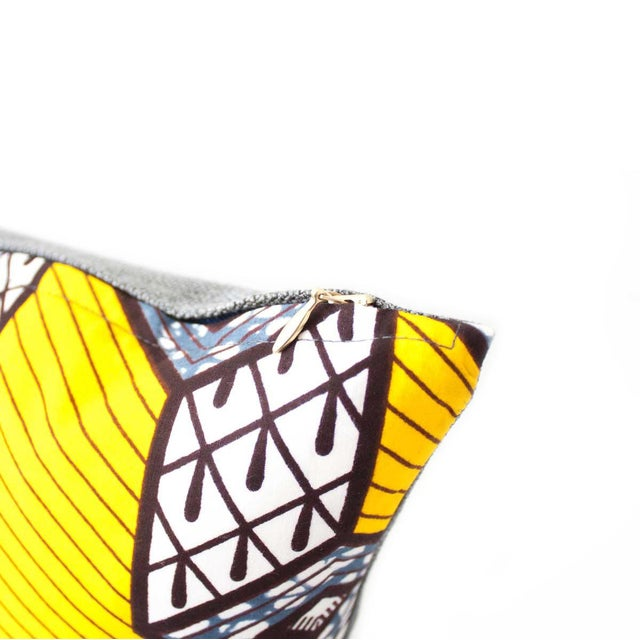 Yellow African Wax Print Square Pillow - Image 3 of 5
