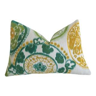 Sunbrella Suzani Outdoor Lumbar Pillow Cover 12x18 For Sale