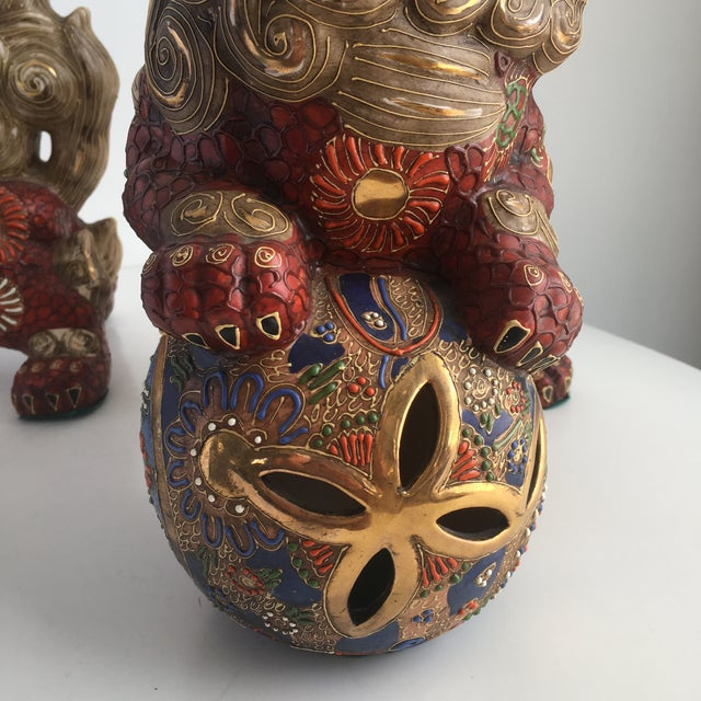 Red 1970s Hollywood Regency Large Red Gilt Foo Dogs - a Pair For Sale - Image 8 of 10