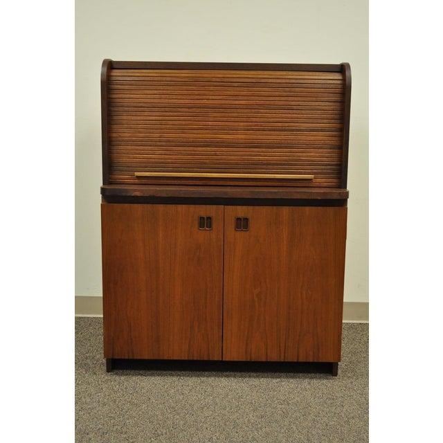 1960's Danish Style Teak Tambour Roll Top Secretary Desk For Sale - Image 12 of 13