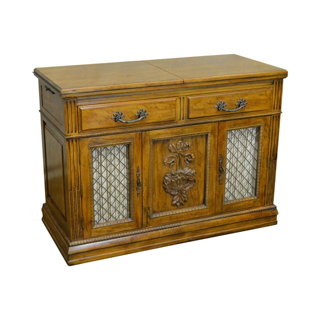 Davis Cabinet Co. Solid Walnut French Provincial Flip Top Server - Image 11 of 11