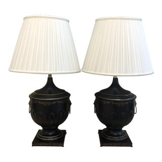 Handpainted Urn-Shaped Tole Lamp - a Pair For Sale