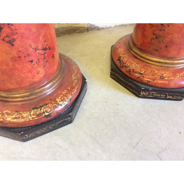 Traditional Monumental Faux Marble Urn Candlesticks For Sale - Image 3 of 4