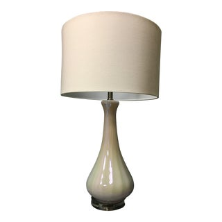 Floating Pearl Drop Lamp With White Circular Lampshade For Sale