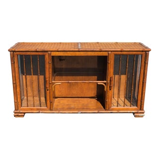 Vintage American of Martinsville Rattan Faux Bamboo Console For Sale