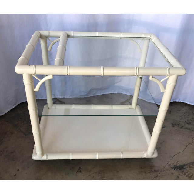 1980s Bamboo-Style White Lacquer Bar Cart/ Trolley For Sale - Image 9 of 10