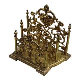 English Brass Art Nouveau Letter Rack For Sale