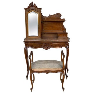 20th Century French Set of Marble-Top Walnut Dressing Table and Savonarola For Sale