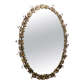 Gilded Oval Mirror For Sale