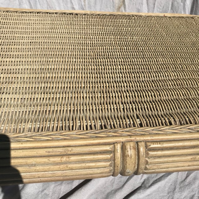 1960s Boho Chic Pencil Bamboo and Rattan Waterfall Coffee Table For Sale In Miami - Image 6 of 8