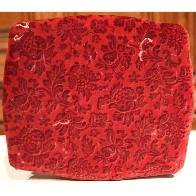 19th Century French Carved Black Painted & Red Velvet Footstools - a Pair For Sale - Image 4 of 6