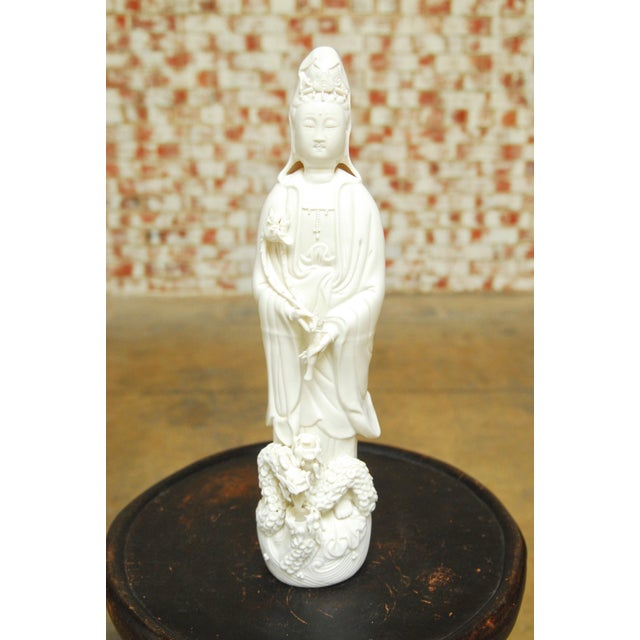 Dripping Water Guan Yin on Dragon Buddha Statue For Sale - Image 9 of 10