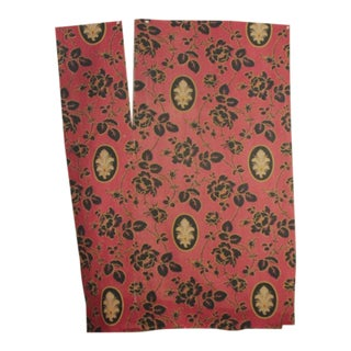 Antique French Printed Fabric Red & Black Floral Circa 1880 Arts & Crafts Design For Sale
