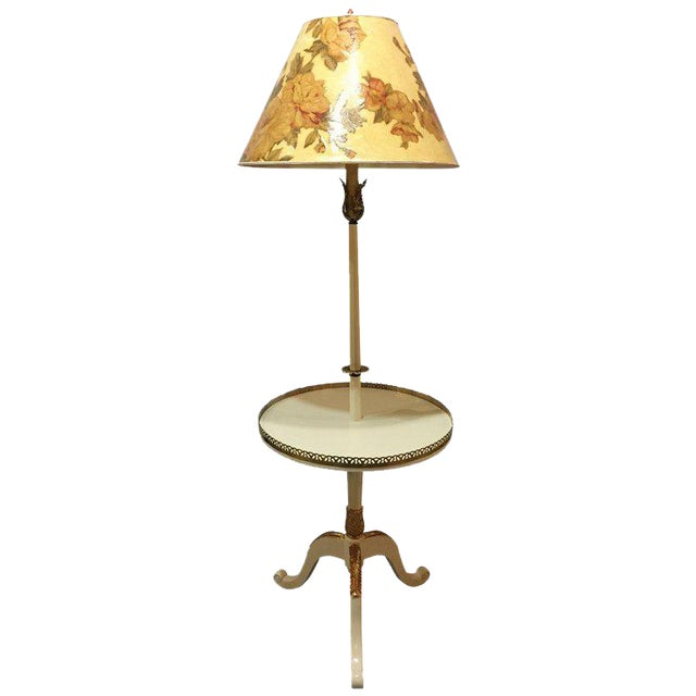 Off-White and Gilt Gold Paint Decorated Floor Lamp with Tray Table and Custom Shade For Sale