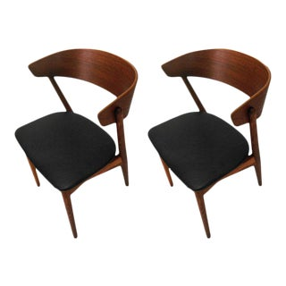 Danish Dining Chairs in Teak and Oak by Helge Sibast - A Pair For Sale