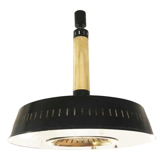 Mid-Century Modern 1960s Stilnovo Lacquered Black and Brass Ceiling Light, Italy For Sale - Image 3 of 6