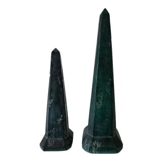 1990s Vintage Green Stone Obelisks - a Pair For Sale