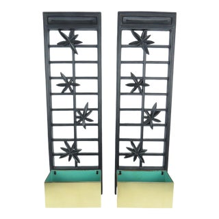 Vintage Syroco Ebonized Wood and Brass Wall Planters - a Pair For Sale