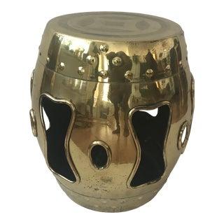 Brass Garden Stool Mid-Century Asian Barrel Style For Sale