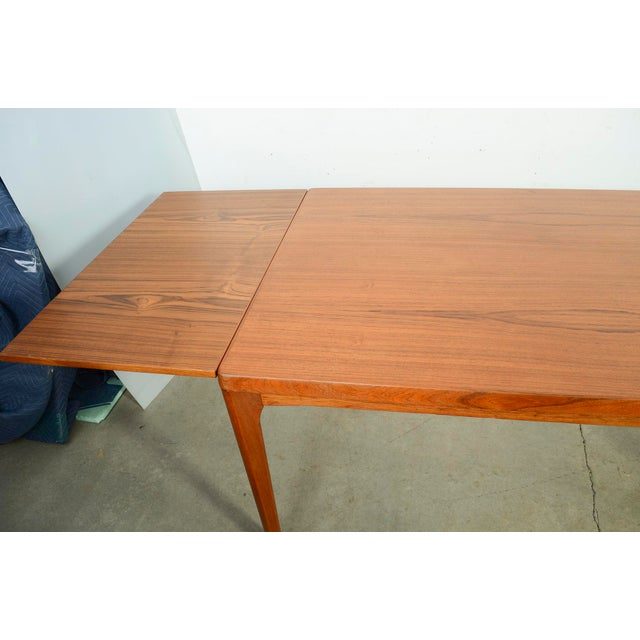 Brown Danish Modern Large Teak Dining Table With 2 Dutch Leaves For Sale - Image 8 of 9