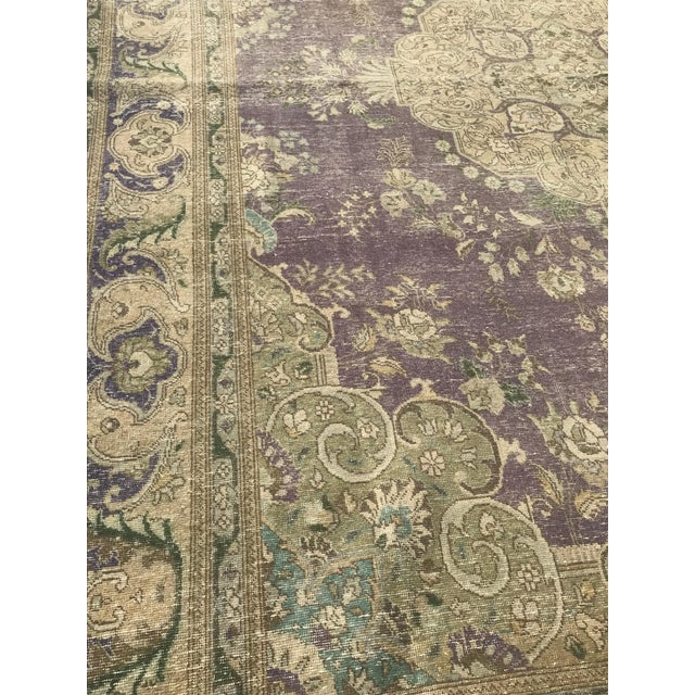 Textile Large Antique Turkish Plum, Green, Beige Wool Rug - 9′5″ × 12′5″ For Sale - Image 7 of 13