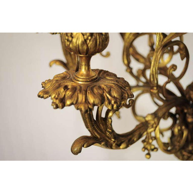 Metal 19th Century Figural French Louis XV Style Gilt Bronze Lion Candelabra Table Lamp For Sale - Image 7 of 11