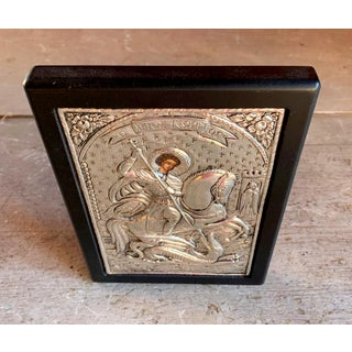 St George & the Dragon Sterling Silver Repousse Large Hand Painted Icon Preview