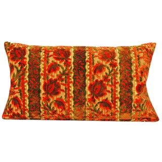 Vintage Orange and Olive Velvet Pillow Cover -13x23 Inch For Sale