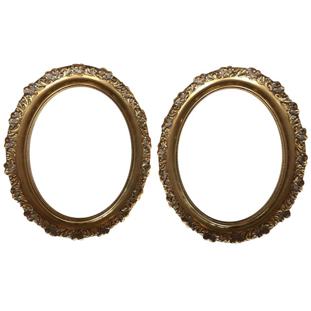 Vintage Oval Gold Wood Frames - A Pair For Sale