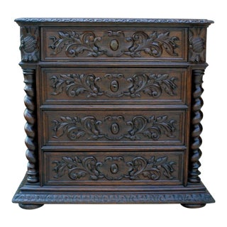 Antique French Oak Mid-19th Century Renaissance Revival Barley Twist 3-Drawer Chest Entry Commode Cabinet For Sale
