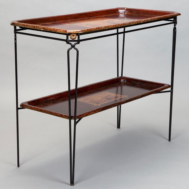 French Two Tier Metal Tole Tray Console or Accent Table For Sale - Image 11 of 11