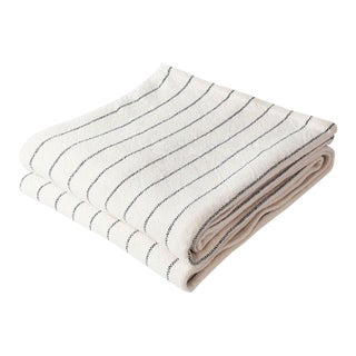 Contemporary Full/Queen Pinstripe Indigo Blanket For Sale