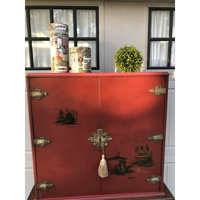 Chinese Red Cabinet or Dry Bar For Sale - Image 11 of 13