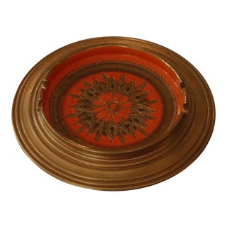 Bitossi Mid Century Italian Gold & Orange Ceramic Ashtray