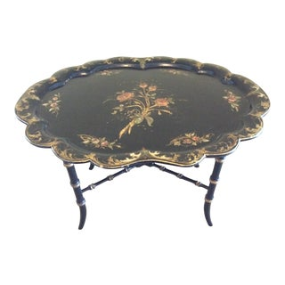 Late 19th Century Antique Chinoiserie Faux Bamboo Paper Mache Table With Mother of Pearl Inlay After Jennens and Betridge For Sale