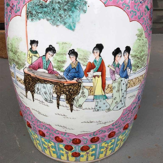 Pink 1960s Chinoiserie Chinese Famille Rose Pink Yellow Ceramic Garden Seat Stool For Sale - Image 8 of 10