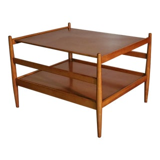 1950s Drexel Walnut Side Table 2 Tiered by Kipp Stewart For Sale