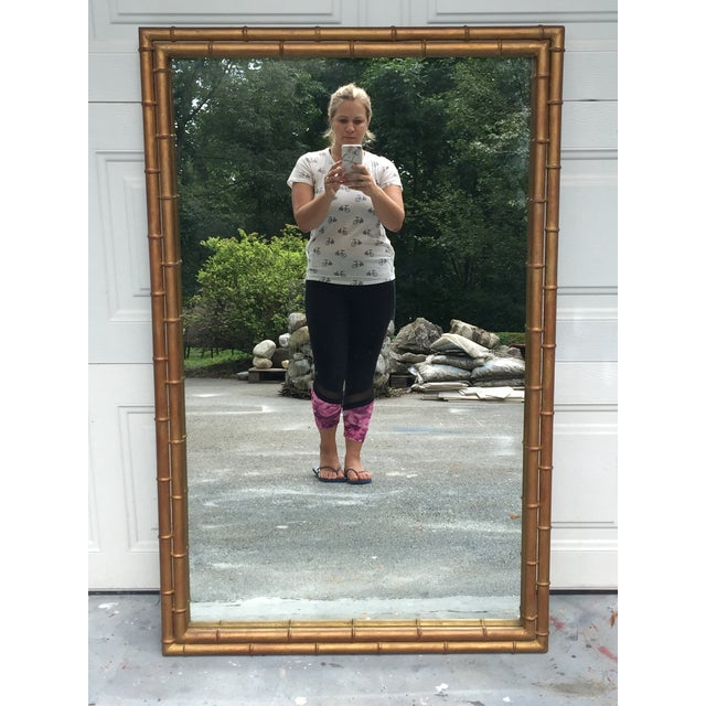 Gold 1970s Hollywood Regency Gilt Faux Bamboo Large Mirror For Sale - Image 8 of 8