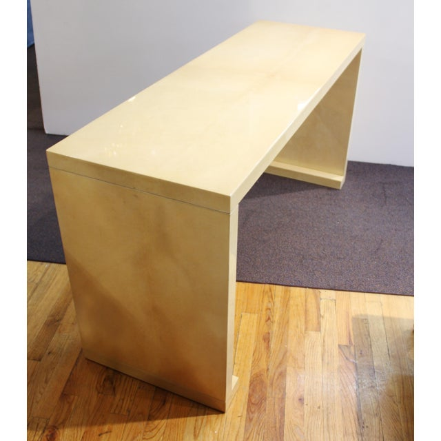 Modern Lacquered Goatskin Console Table Attributed To Karl Springer For Sale In New York - Image 6 of 13
