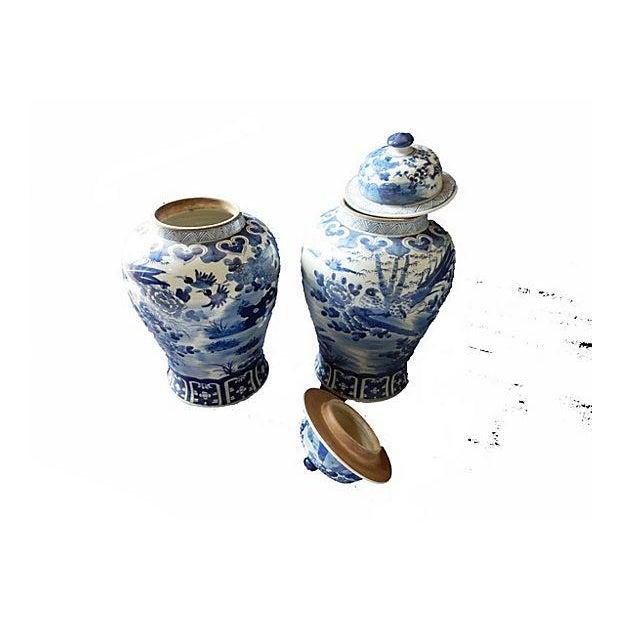 Blue & White Lidded Ginger jars, Pair - Image 4 of 6