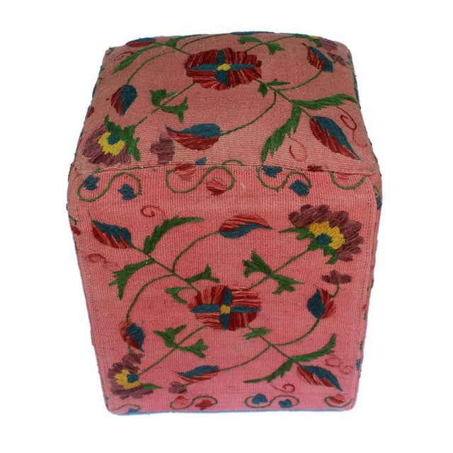 Asian David Pink/Blue Kilim Hand Embroidered Upholstered Ottoman For Sale - Image 3 of 8